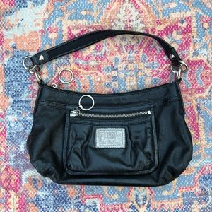 Coach Poppy Groovy black leather shoulder bag
